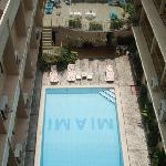 The view of the pool from the roof