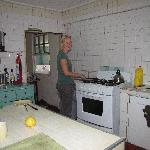 Cooking in the clean, spacious kitchen