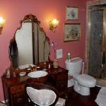 vanity & marble shower