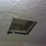 Bathroom vent (venting to no where?). No vent cover. Junk falling from the hole.