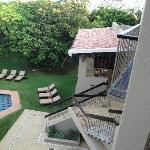 view from balcony onto pool