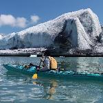 Paddling around icebergs at Bear Glacier