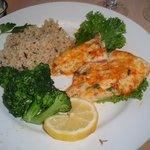 Parmesean Drum fish, vegie, rice