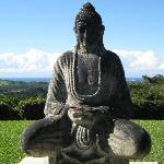 The Buddah on top of the hill with Byron Bay behind