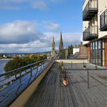 First floor apartments with large terrace overlooking the river
