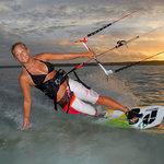 World Champion Ania G. from Poland kiting at LEK Aitutaki