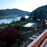 Rogue River and swimming pool view from balcony