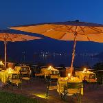 Restaurant Terrace by night overlooking Lake Como