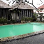 プールはとても小さく平屋の2棟はそのままプールに入れます