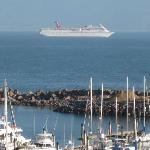 Overlooking the Marina and the Carnival Cruise leaving Ensenada
