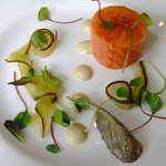 Ballontine of Loch Duart salmon, oyster vinaigrette and pickled vanilla cucumber