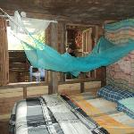 the bedroom in the top tree house