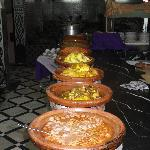 Tagines in line at Hotel Ali dinner buffet