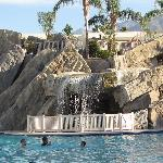 Waterfall in the middle of the pool