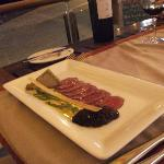 Carpaccio of Ostrich with foi grois