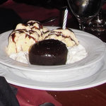 Chocolate Filled Cake w/Ice Cream