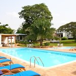 Mount Elgon Hotel's swimming pool and gardens
