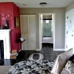 The large bedroom/sitting room is comfortable & open