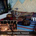 Roof garden New Palace hotel hostel in Cairo Egypt hostels hotels