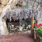 The outdoor bar area