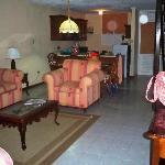 Standing in living room looking at kitchen 2 bedroom suite