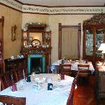 The dining room with my favorite fireplace