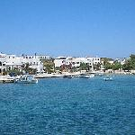The Antiparos waterfront. The Argo lies about 100 yards behind the group of trees, centre right.
