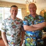 Jim (your host) on the right plus my husband Jeff in their Hawaiian shirts at breakfast!