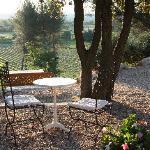 Frühstückstisch, Blick auf Gordes und Roussillon