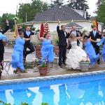 Photos poolside after the ceremony. So fun!