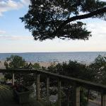 View of Lake Michigan and the beach from the deck