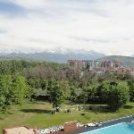 View of hotel pool and Bishkek from balcony