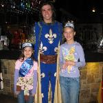 My kids with their hero, the blue knight at Buena Park, CA Medieval Times show on 6/1/2010