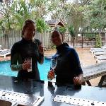 Me and joe by the pool bar after a dive