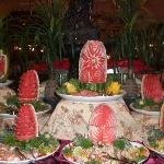 Melon carvings in the restaurant