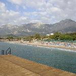 View from the jetty, the mountains behind the hotel