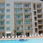 View of pool and second condo building