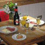 Our first breakfast at Gitcombe