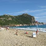 View of Alanya castle on the hilltop and beach