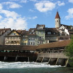 The Aare River - a block from Schwert Thun