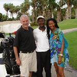 Dave, the caddy and Moya on the Robert Trent Jones Golf Course at Half Moon Jamaica.