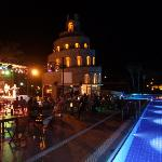 Pool at night with Entertainment