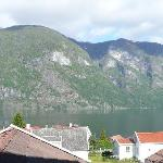 View from balcony of Aurland Fjordhotel