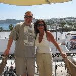 Elaine (Owner) poses for picture with me from their bar terrace overlooking Gumbet Bay