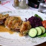 Plnena veprova panenka (pork steak filled with stewed cabbage, bacon and ham and vegetables, CZK
