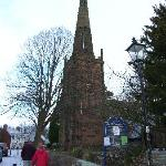 Church and dog walkers in the snow