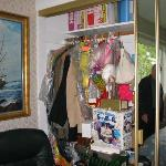 Unable to have full use of the closet. Owner had more stuff piled in it.