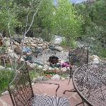 Our patio overooking firepit and river