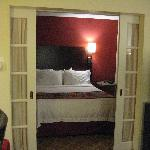 The bed with french doors