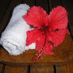 cold scented towel and flower on arrival